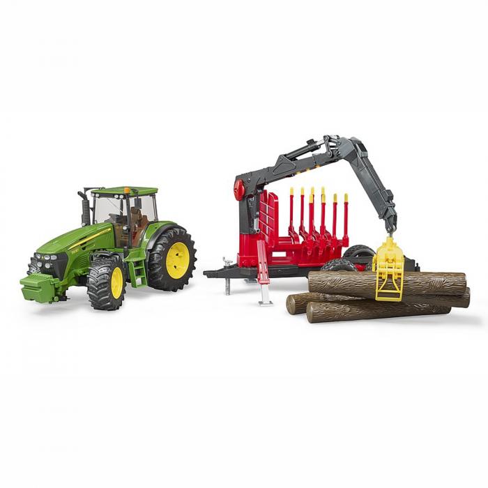 Jucărie - Tractor John Deere 7930 cu remorcă lemne și bușteni [2]