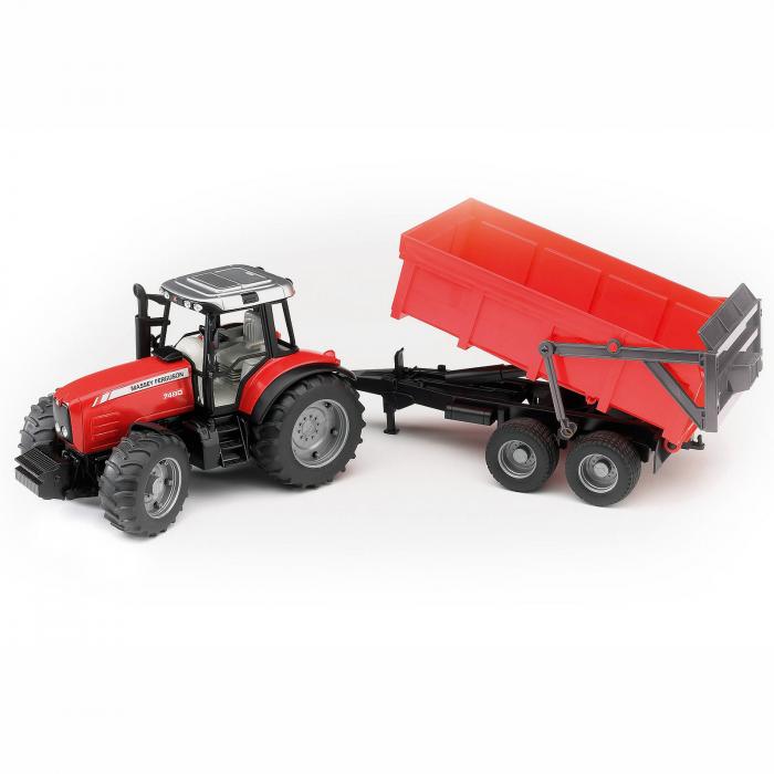 Jucărie - Tractor Massey Ferguson 7480 cu Remorcă Basculabilă [0]