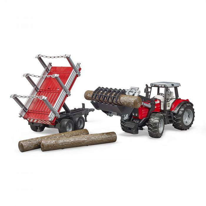 Jucărie - Tractor MF 7480 cu încărcător frontal și remorcă de transport lemne [2]