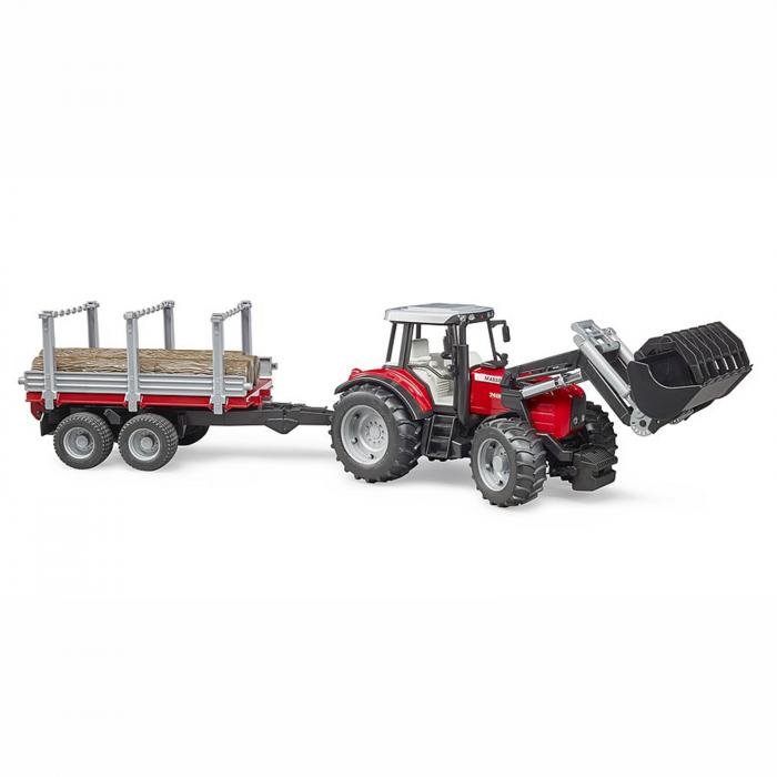 Jucărie - Tractor MF 7480 cu încărcător frontal și remorcă de transport lemne [0]