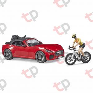 Jucărie - Mașină roșie Roadster cu o bicicletă de curse și biciclistă 2020 [0]