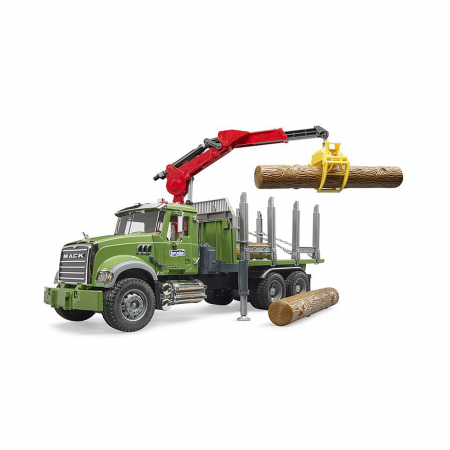 Camion Mack Granite cu remorcă de transport lemne, macara și 3 bușteni [2]