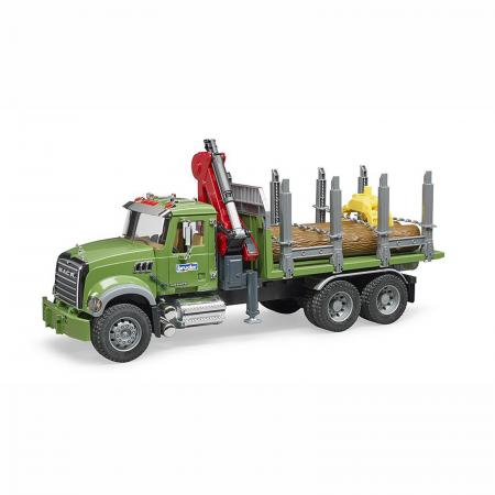 Camion Mack Granite cu remorcă de transport lemne, macara și 3 bușteni [1]