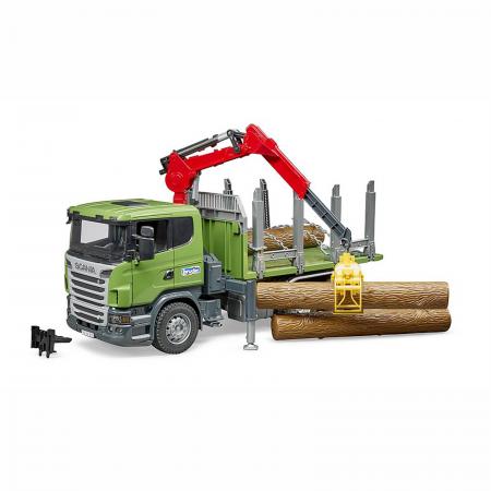 Camion Scania seria R cu remorcă de transport lemne, macara și 3 bușteni [1]