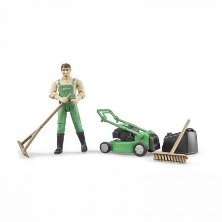 Grădinar cu mașină de tuns iarba și unelte [2]