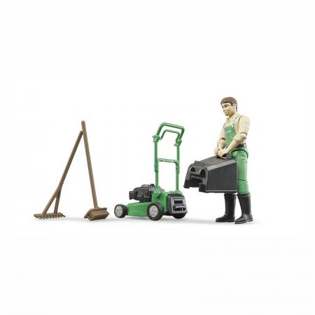 Grădinar cu mașină de tuns iarba și unelte [1]
