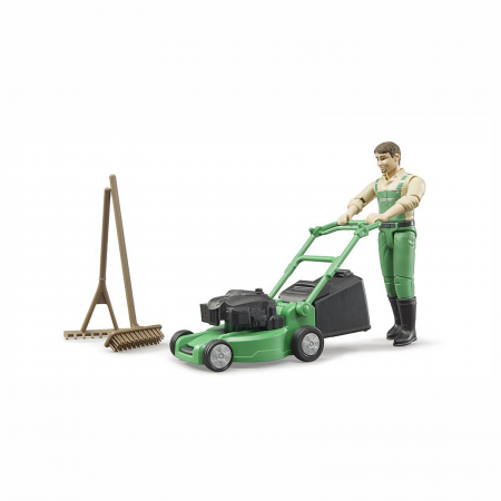 Grădinar cu mașină de tuns iarba și unelte [0]