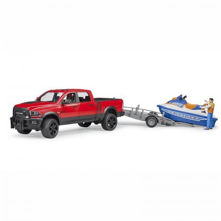 Jucărie - Mașină de teren cu benă RAM 2500 Power cu remorcă, jet ski și figurină bărbat [3]