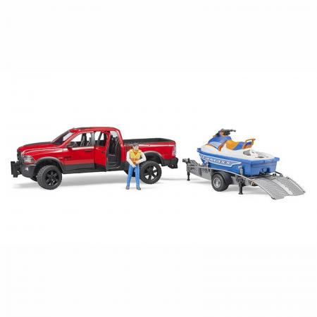 Jucărie - Mașină de teren cu benă RAM 2500 Power cu remorcă, jet ski și figurină bărbat [1]
