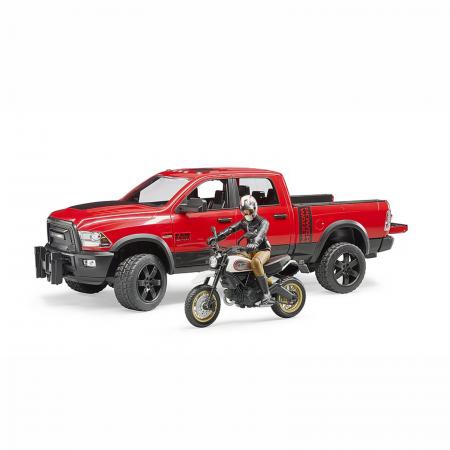 Jucărie - Mașină de teren cu benă RAM 2500 Power Wagon, motocicletă Ducati și figurină [1]