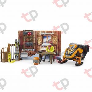Jucarie - Set cabana cu figurina barbat, snowmobil si accesorii [0]