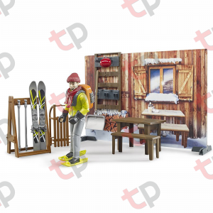 Jucarie - Set cabana cu figurina barbat, snowmobil si accesorii [4]