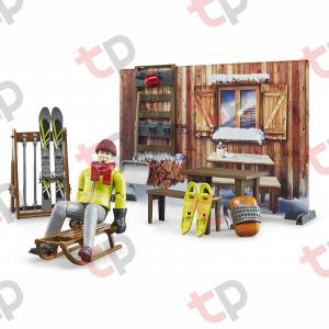 Jucarie - Set cabana cu figurina barbat, snowmobil si accesorii [1]