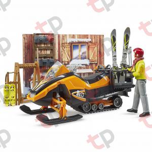Jucarie - Set cabana cu figurina barbat, snowmobil si accesorii [3]