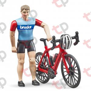 Jucărie - Bicicletă roșie de curse cu biciclist [1]