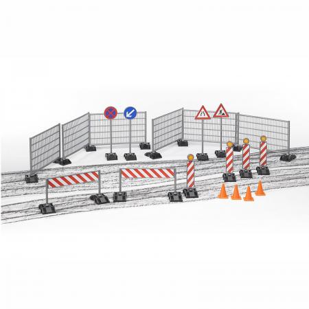 Jucărie - Set șantier cu garduri, panouri si piloni [0]