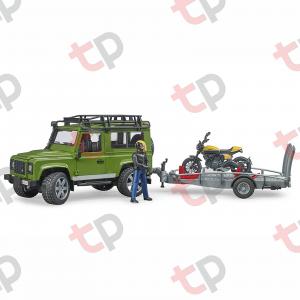 Jucărie - Set mașină de teren Land Rover Defender cu remorcă, motocicletă Ducati și figurină - 2020 [0]