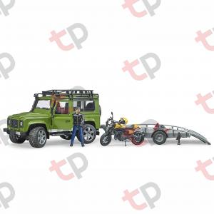 Jucărie - Set mașină de teren Land Rover Defender cu remorcă, motocicletă Ducati și figurină - 2020 [3]