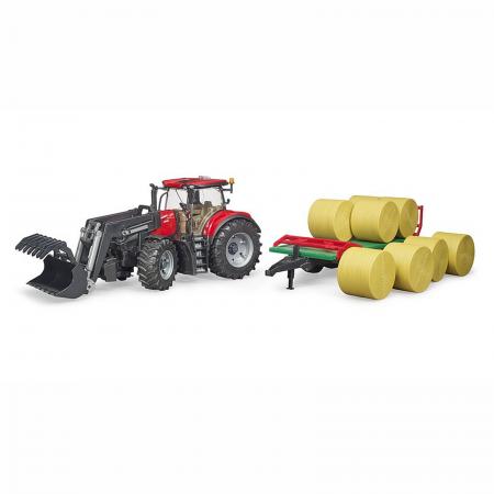 Tractor Case IH Optum 300 CVX cu încărcător frontal și remorcă baloți [1]