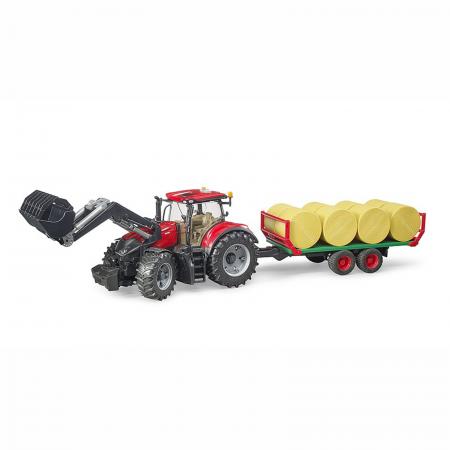 Tractor Case IH Optum 300 CVX cu încărcător frontal și remorcă baloți [0]