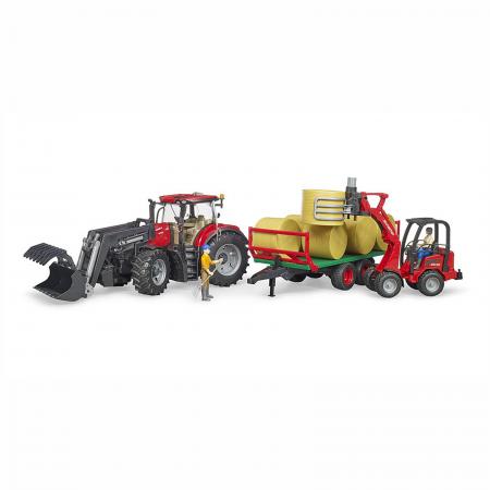 Tractor Case IH Optum 300 CVX cu încărcător frontal și remorcă baloți [3]