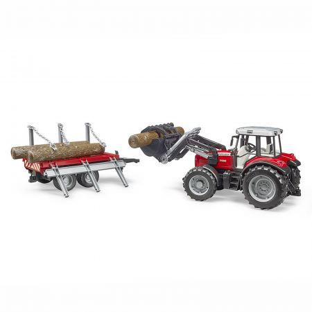 Jucărie - Tractor MF 7480 cu încărcător frontal și remorcă de transport lemne [1]