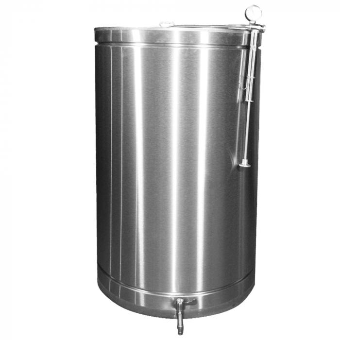 Butoi INOX 150 L cu capac flotant si canea [0]