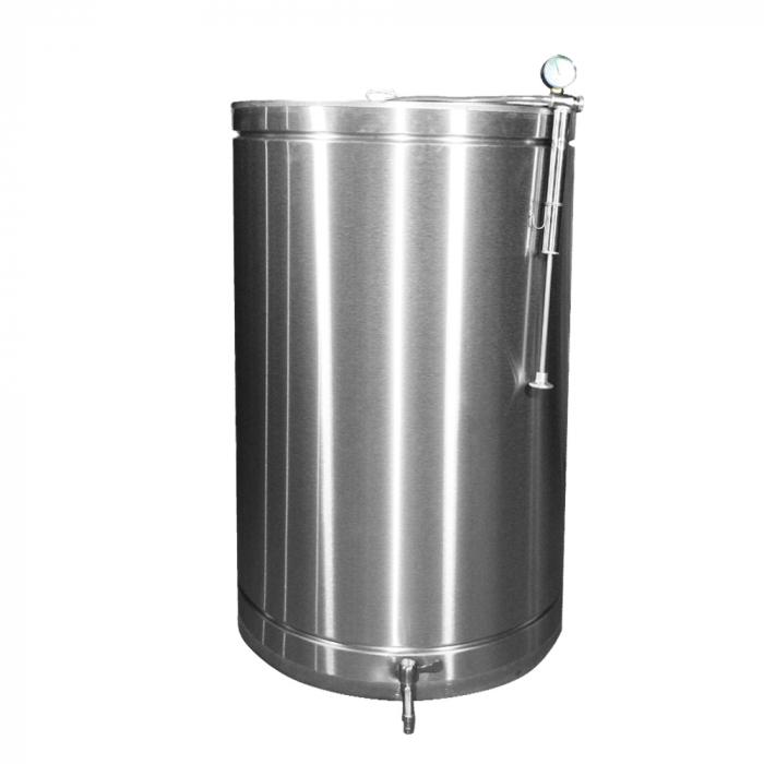 Butoi INOX 180 L cu capac flotant si canea [0]