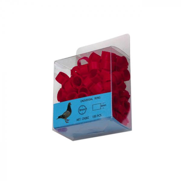 Inele de picioare pentru porumbei 8mm(rosii) 0
