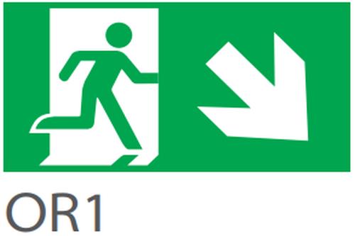 Pictograma evacuare EXIT dreapta jos OR1, 20m,  Intelight 39980      [0]