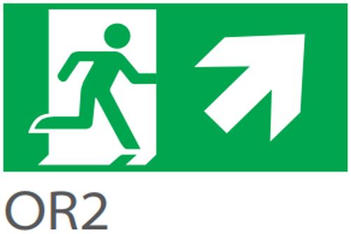 Pictograma evacuare EXIT dreapta sus OR2, 20m, Intelight 39982      [0]