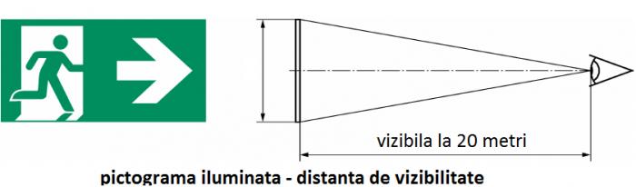 Pictograma evacuare EXIT dreapta jos OR1, 20m,  Intelight 39980      [1]