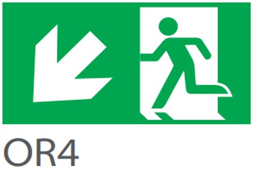 Pictograma evacuare EXIT stanga jos OR4, 20m, Intelight 39981      0