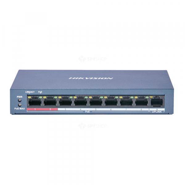 Switch PoE 8 canale Hikvision DS-3E0109P-E/M(B), 30W Max per port [0]