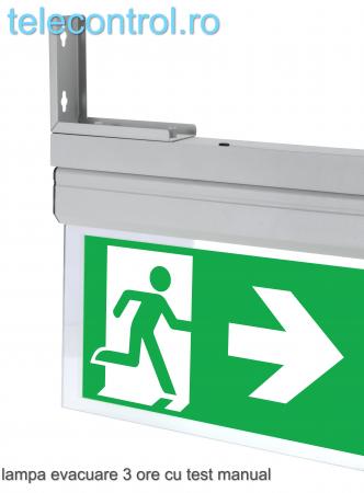 Lampa EXIT evacuare aplicata, IP20, 3h, mentinut, test manual, 3.8W, Intelight 40095 [3]
