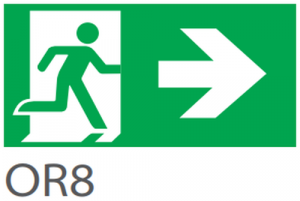 Pictograma evacuare EXIT dreapta OR8, 20m, Intelight 39978     0