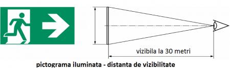 Pictograma evacuare EXIT dreapta sus E6, 30m, Intelight 98001      [1]