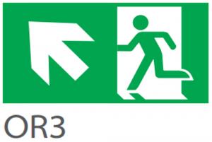 Pictograma evacuare EXIT stanga sus OR3, 20m, Intelight 39983      [0]