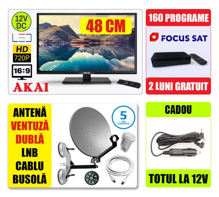 KIT TV 12V 48cm Akai + Antena Camion + 2 Luni Gratuit [0]