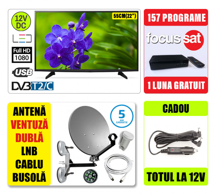 Kit TV 12V 56cm SENCOR + Antena camion + 1 luna gratuit [0]