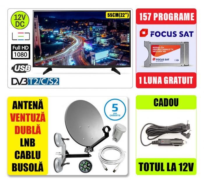 Kit TV 12Vcc/220V,55CM SENCOR + Antena Camion + 1 luna - SENCOR [0]