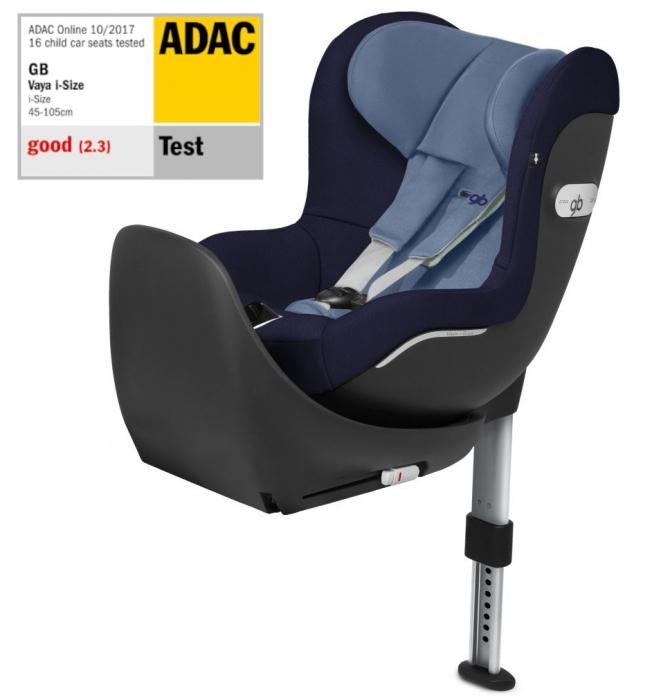GB Vaya Sapphire Blue. I-Size, isofix, rotativ. De la naștere la 18 kg sau 105 cm (aprox. 4 ani). Poziționare rear și front facing. Nota Gut în testul ADAC. 0