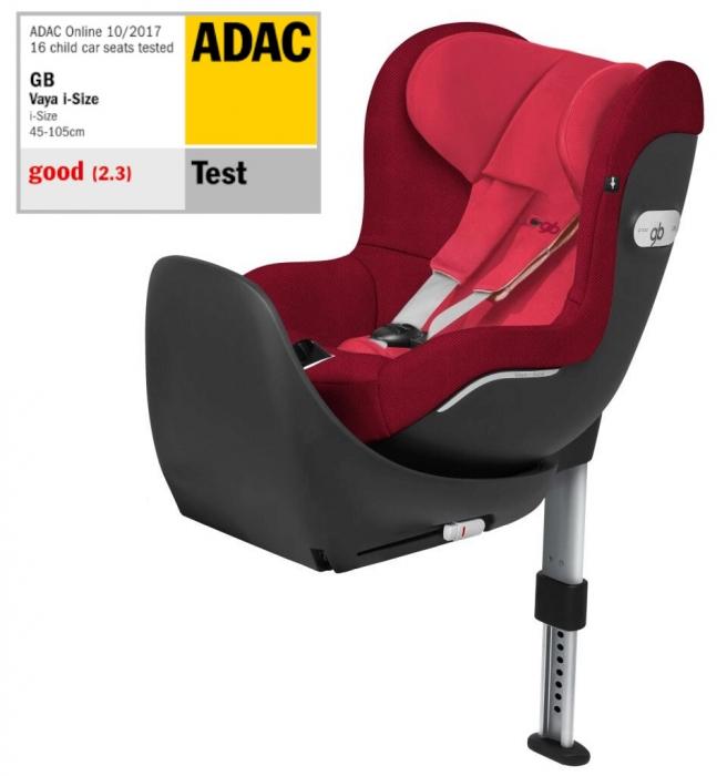 GB Vaya Cherry Red. I-Size, isofix, rotativ. De la naștere la 18 kg sau 105 cm (aprox. 4 ani). Poziționare rear și front facing. Nota Gut în testul ADAC. 0