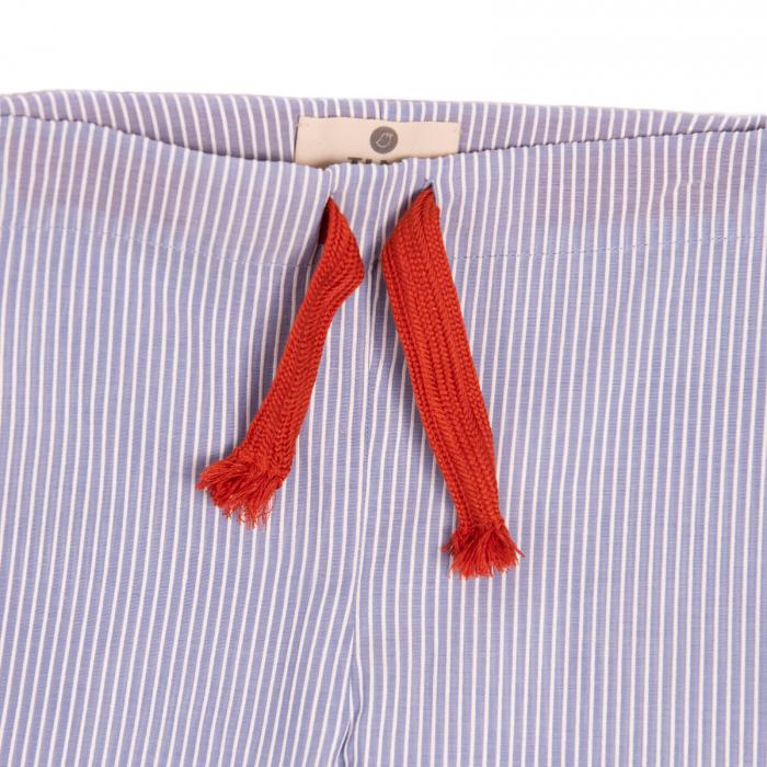 Pantaloni vară bleu cu dungi albe 2