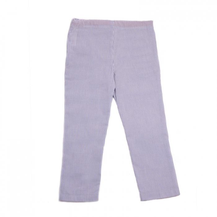 Pantaloni vară bleu cu dungi albe 1