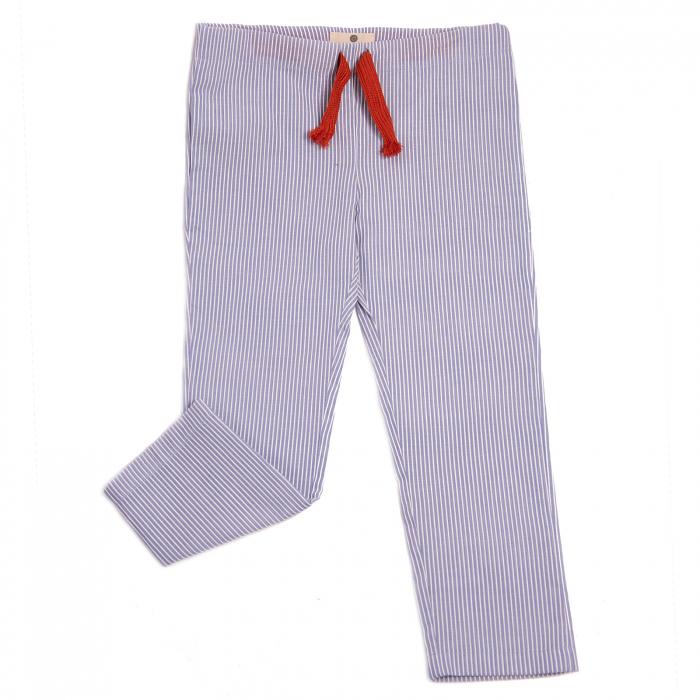 Pantaloni vară bleu cu dungi albe 0