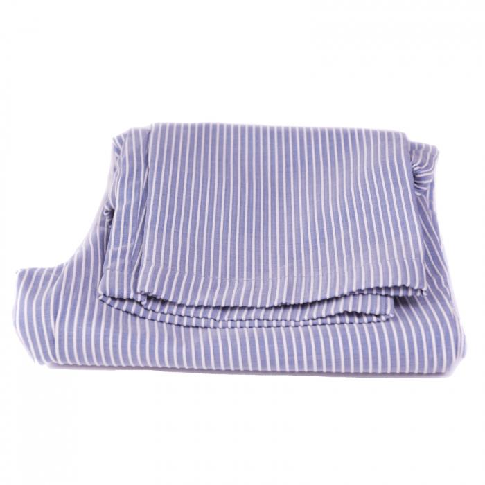 Pantaloni vară bleu cu dungi albe 3