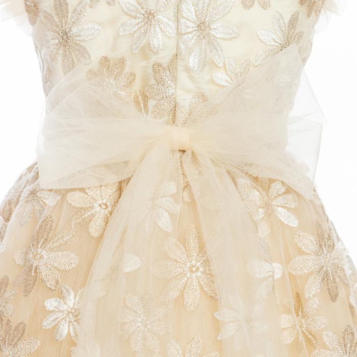 Rochiță dantelă crem-auriu 3