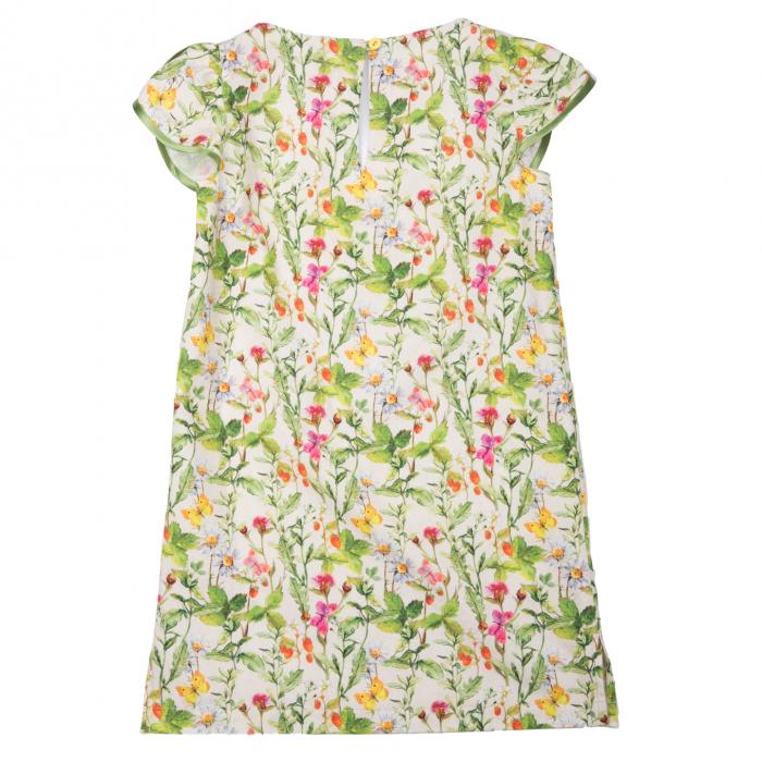 Rochiță dreaptă cu mâneci în formă de petale, care se închide la spate cu un nasture. Primavara vintage - design natural cu ramuri verzi, flori colorate şi fluturi care se intrepătrund formând o continuitate florală. Culorile galbene, roşii şi roz sunt imprimate pe un fond crem. 1