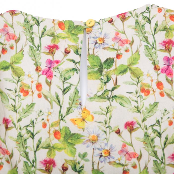 Rochiță dreaptă cu mâneci în formă de petale, care se închide la spate cu un nasture. Primavara vintage - design natural cu ramuri verzi, flori colorate şi fluturi care se intrepătrund formând o continuitate florală. Culorile galbene, roşii şi roz sunt imprimate pe un fond crem. 4